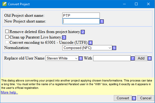 Convert Project Dialog