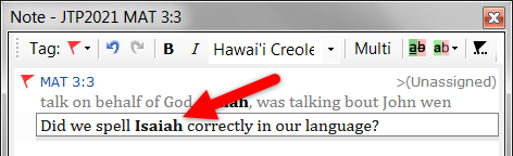 Make the text of a project note bold with Ctrl + B.
