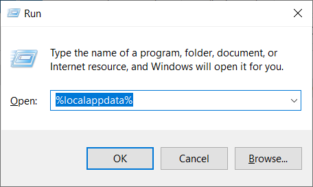Local app data shortcut in the Windows Run window