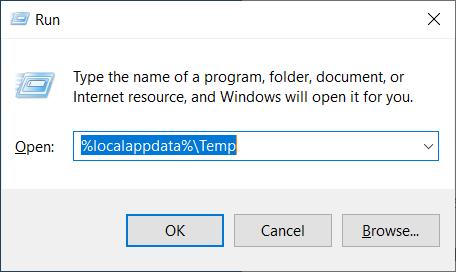 Windows Run window - local app data temp shortcut