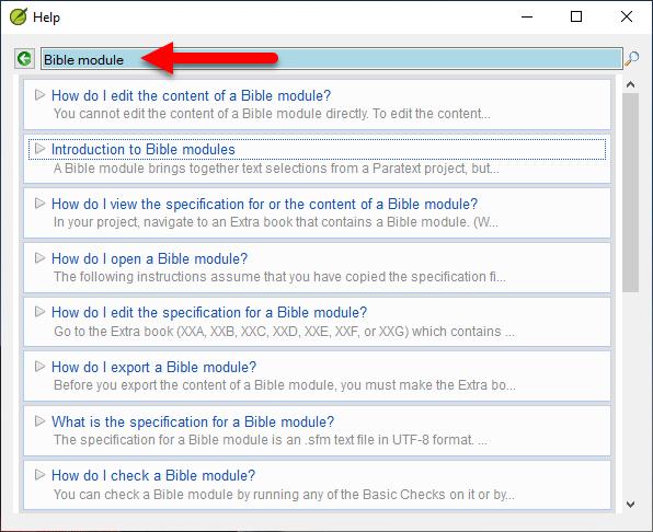 Bible module help topics