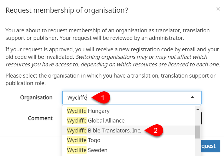 Search for and select organization