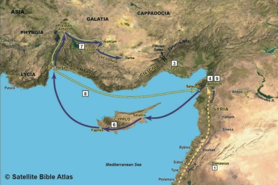 Map Pauls Missionary Journey