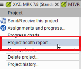 Project Health report menu 1red