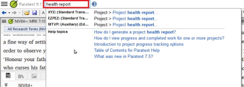 menu search health report