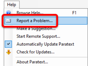paratext 8 report a problem 2
